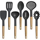 TOPHOME Cooking Utensils Nonstick Utensil Set Beech Wood and Silicone Kitchen Utensils Set for Pots and Pans Serving Tongs Spoon Tools Pasta Server Ladle Strainer Whisk 7 Pieces