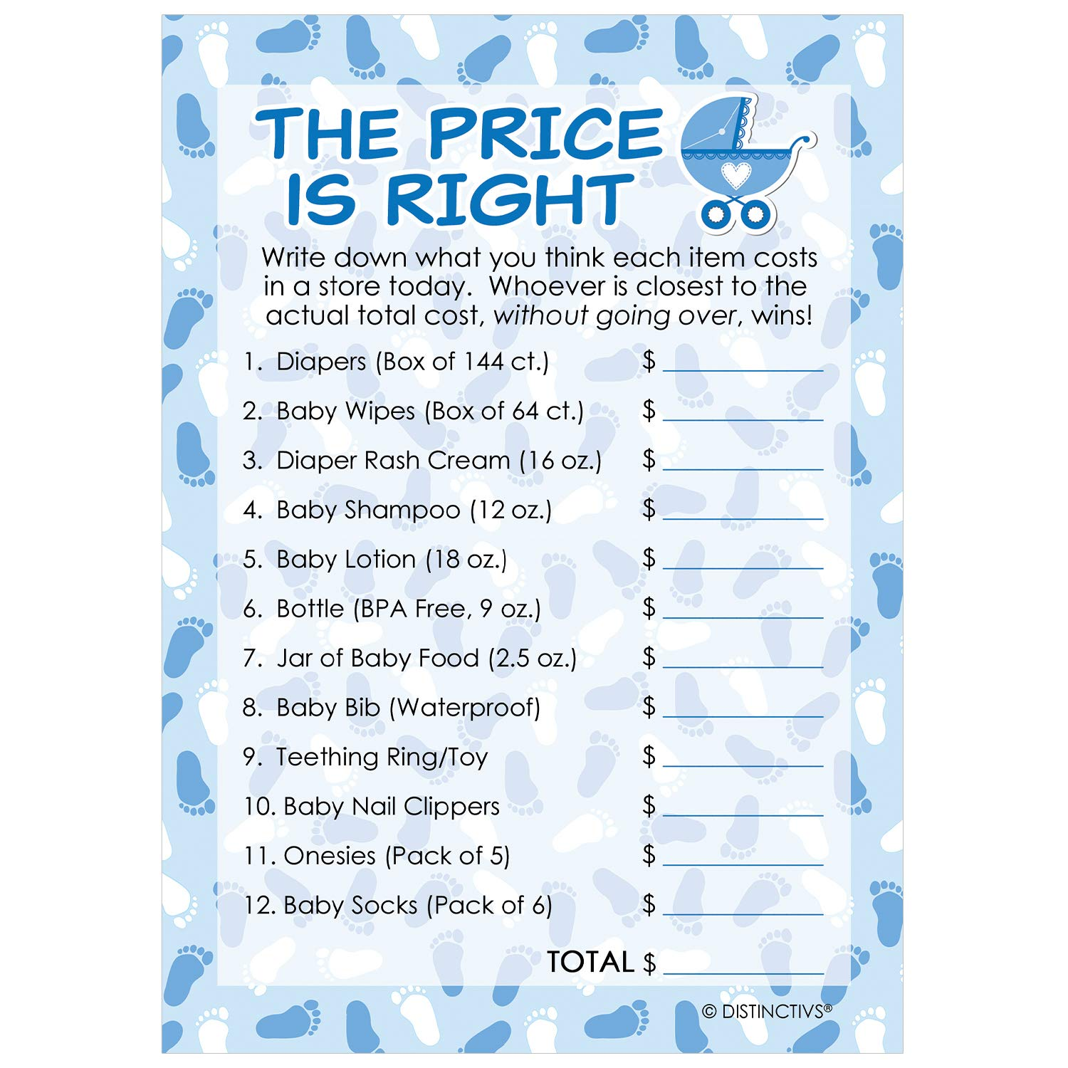 997ded5164f86 DISTINCTIVS Blue Boy Baby Shower Game - The Price is Right (Set of 20)