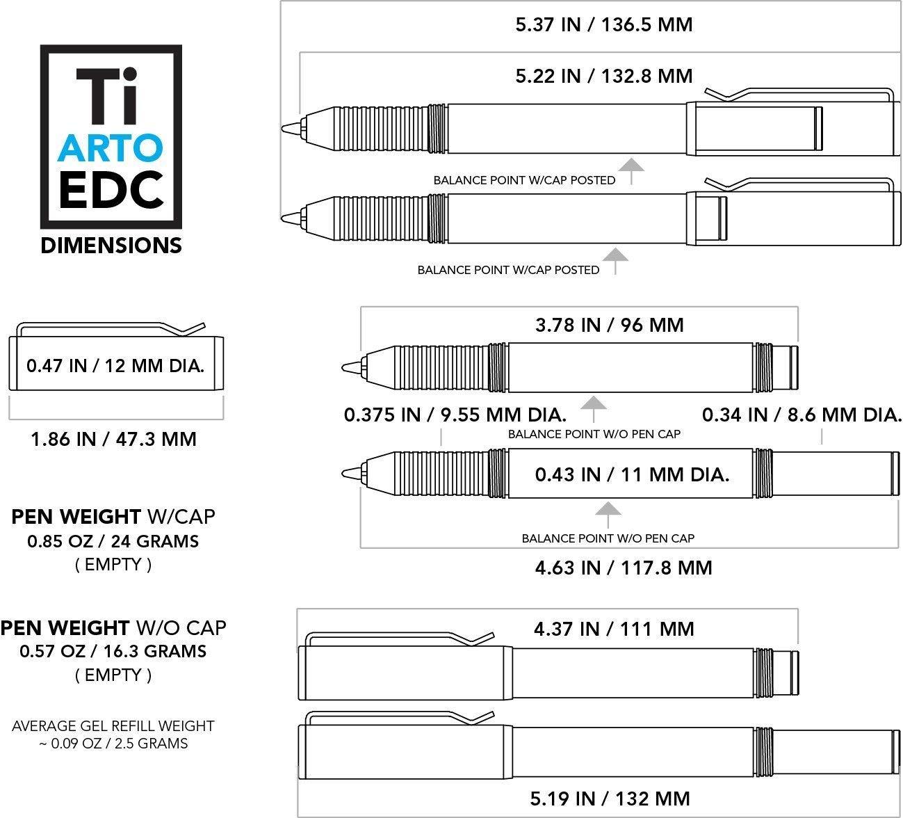 BIG IDEA DESIGN Ti Arto EDC : The Ultimate Refill Friendly Everyday Carry Pen (Midnight Black) by BIG IDEA DESIGN (Image #4)