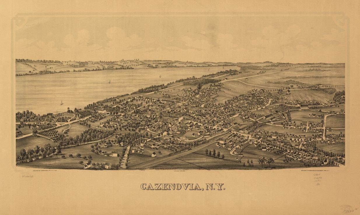 24 x 18 Reprinted Old Vintage Antique Map of: c.1890 Cazenovia, N.Y. m905
