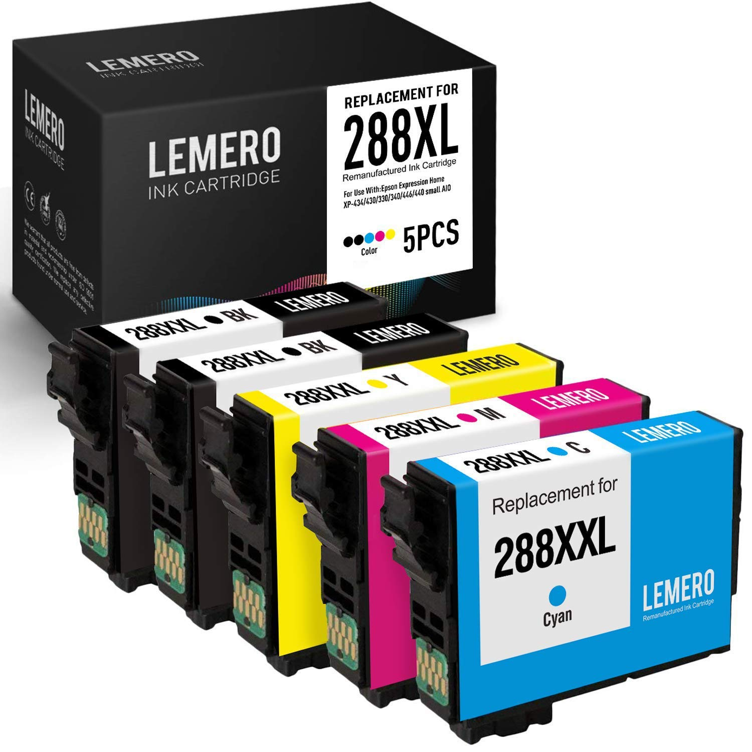LEMERO Remanufactured for Epson 288XL 288 XL 288 Ink Cartridges -  Replacement for Epson Expression XP-330 XP-430 XP-340 XP-440 XP-434 XP-446  (5 Pack)