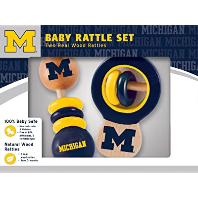 MasterPieces NCAA Michigan Wolverines, Natural Wood, Non-Toxic, BPA, Phthalates, & Formaldehyde Free, Baby Rattle, 2 Pack: Sports & Outdoors