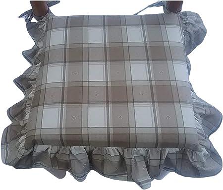 con Laccetti VAR.6 con Zip Misura 39X39X5 Cm mauro Cuscini SEDIE Cucina Tessuto 100/% Cotone Pesante Imbottitura Multistrato- con Volant Set 6 Pezzi