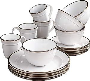 Elle Décor Lucienne Casual Round Dinnerware Set – 16-Piece Stoneware Party Collection w/ 4 Dinner Salad Plates, 4 Bowls & 4 Mugs-Unique Gift Idea, 10.75