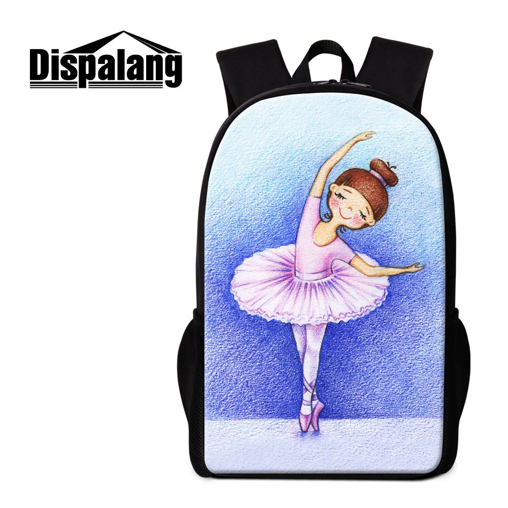 269c79ee40ec Dispalang Cute Ballet Girls Print Backpack for Children School ...
