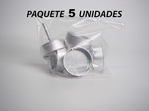 Sanfor 71035 Paquete 5 embudo cafetera aluminio O.L. 12 tazas granel, PLATEADO: Amazon.es: Hogar