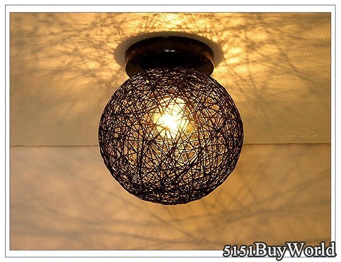 Plafoniere Per Corridoio : Buyworld lino rattan sferico led plafoniera colori per