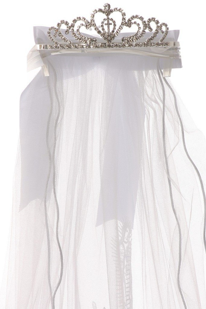 Virgin Mary Embroidered Tiara Crown Mesh First Communion Veil Flower Girl White T-113-B