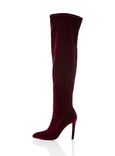 dd87fc0904d find. Women s Over the Knee Stiletto Velvet Boots  Amazon.co.uk ...