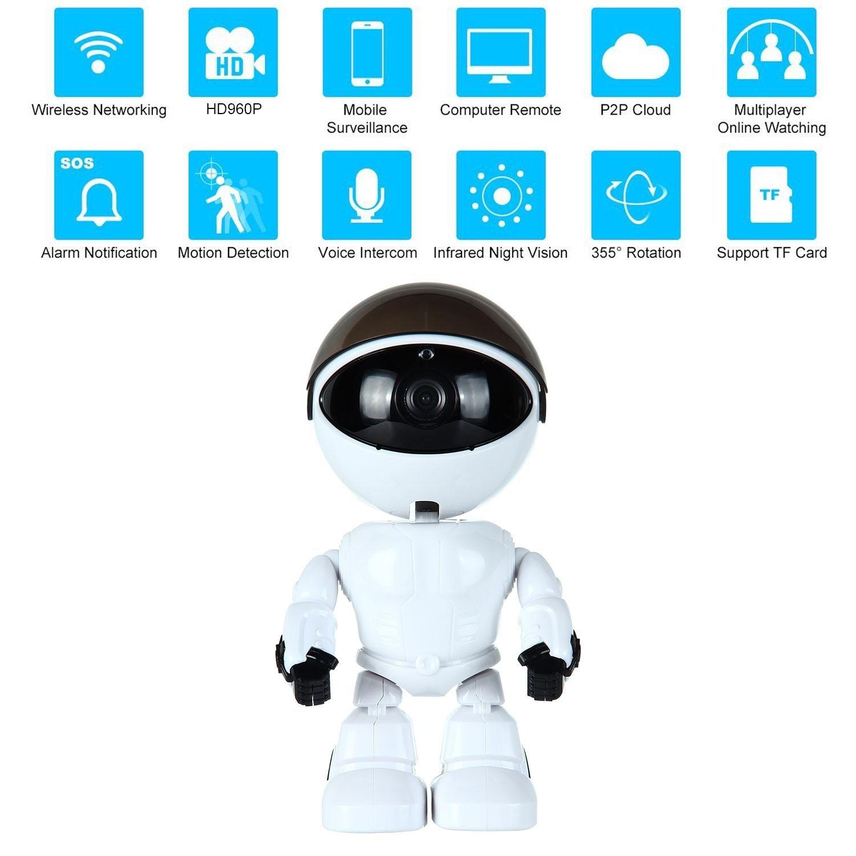 Kobwa 960P HD sans Fil Caméra de Sécurité IP Robot, WI-FI Caméra IP P2P IR Night Vision Deux Voies Audio Réseau Home Security Baby Monitor pour Mobile Android/IOS et Ordinateur Portable