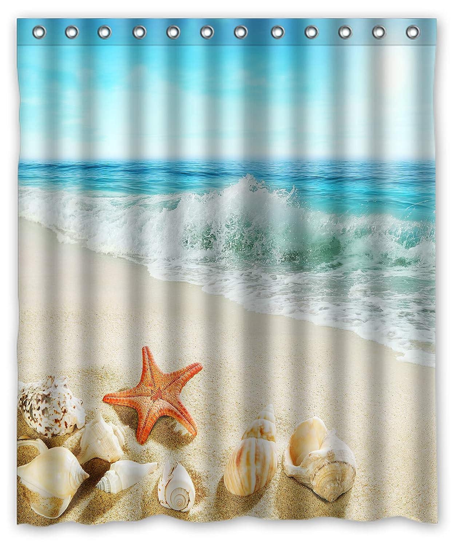GCKG 水しぶき波 ヒトデ 貝殻 ビーチシャワーカーテン 60x72インチ   B07NRT1S92