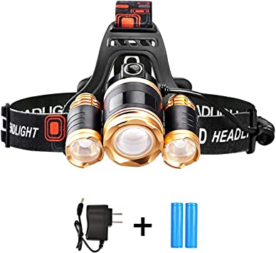 Running Charger and 2 Rechargeable Batteries Included,90 Degree Adjustable Biking Headlights Headlamps Flashlights Brightest LED Zoomable 6000 Lumen With Red Safety Light,Waterproof for Camping