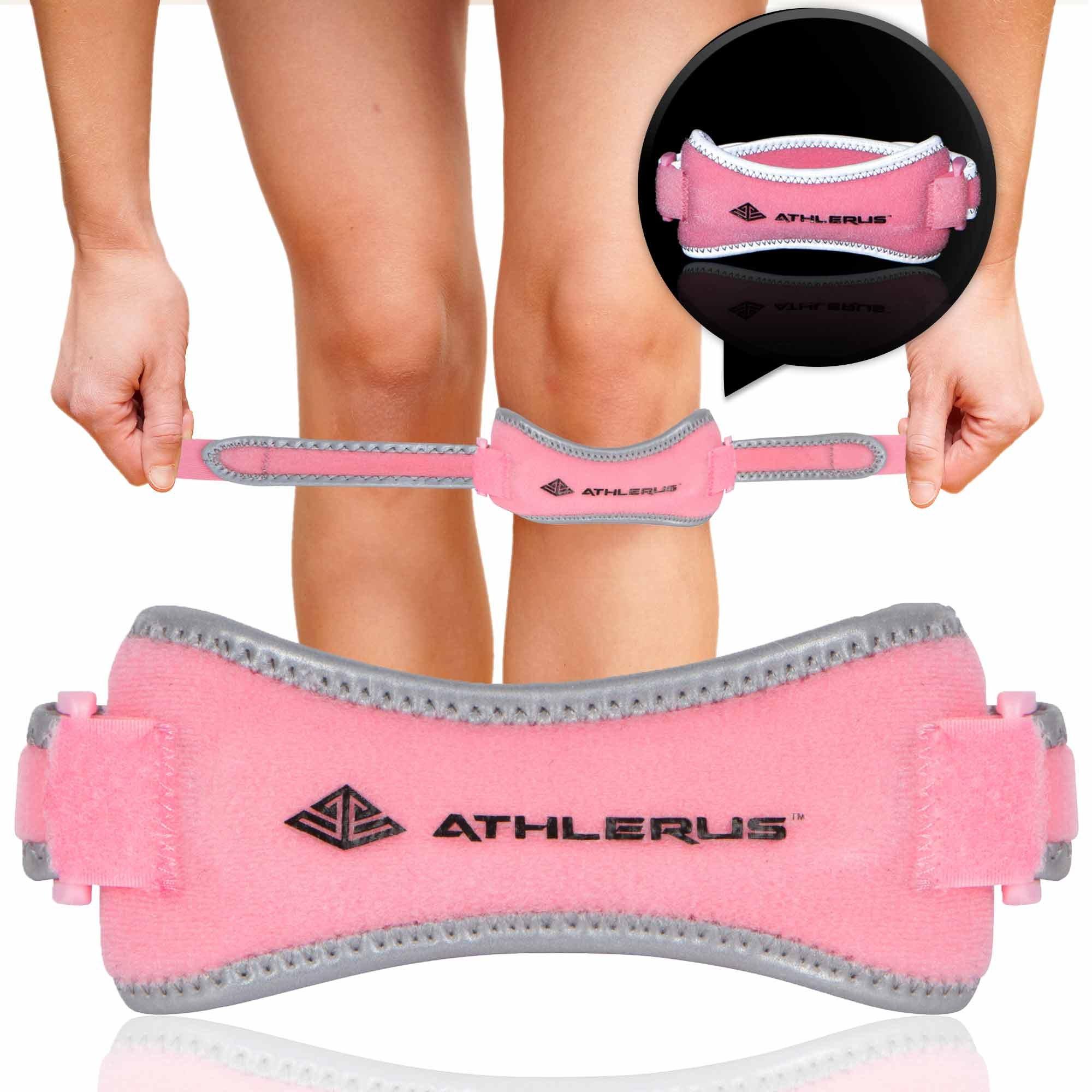 Athlerus Women's Reflective Patella Tendon Support Strap/Knee Pain Relief from Patellar Tendonitis, Runner's Knee, Hiking, Running (1 Piece, Pink)