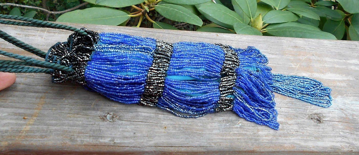 Roaring 20s Flapper Purse,Shiny Jet Black & Dark Blue Beads, 1000s of Beads A-Flapping, A-Swinging, Free-Spirited, Handmade Nearly 100 Years Ago!