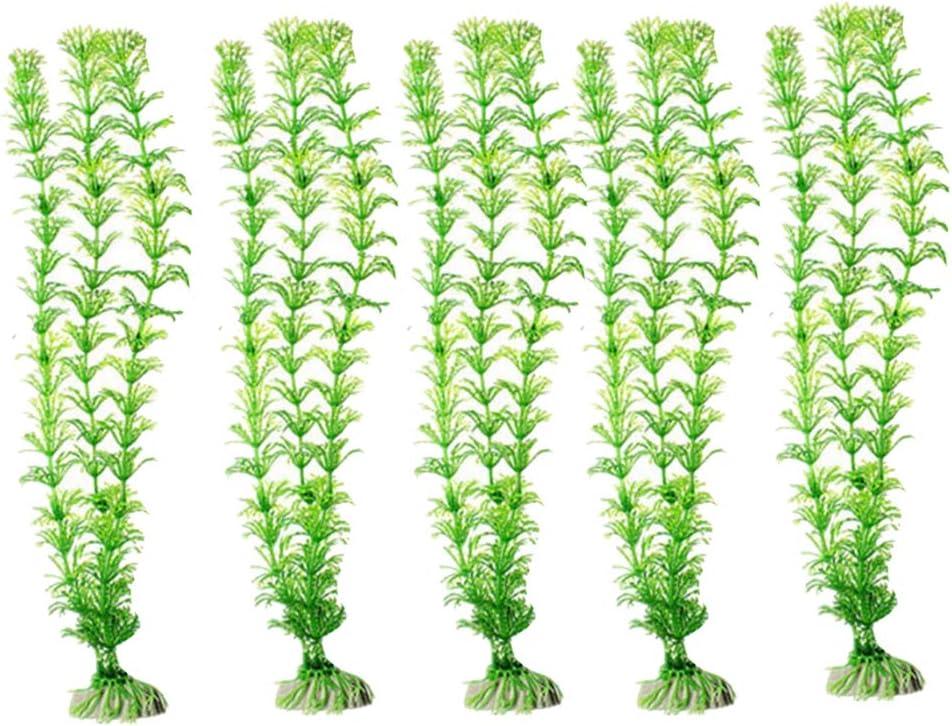 Wmchiwan - 5 Plantas Artificiales de Acuario de Tela de Seda de plástico, no tóxicas y seguras para Todos los Peces y Mascotas