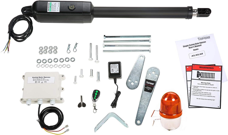 TOPENS - Abridor automático de puerta abatible para puerta de columpio individual de hasta 250 kg o 5 m, soporte extra