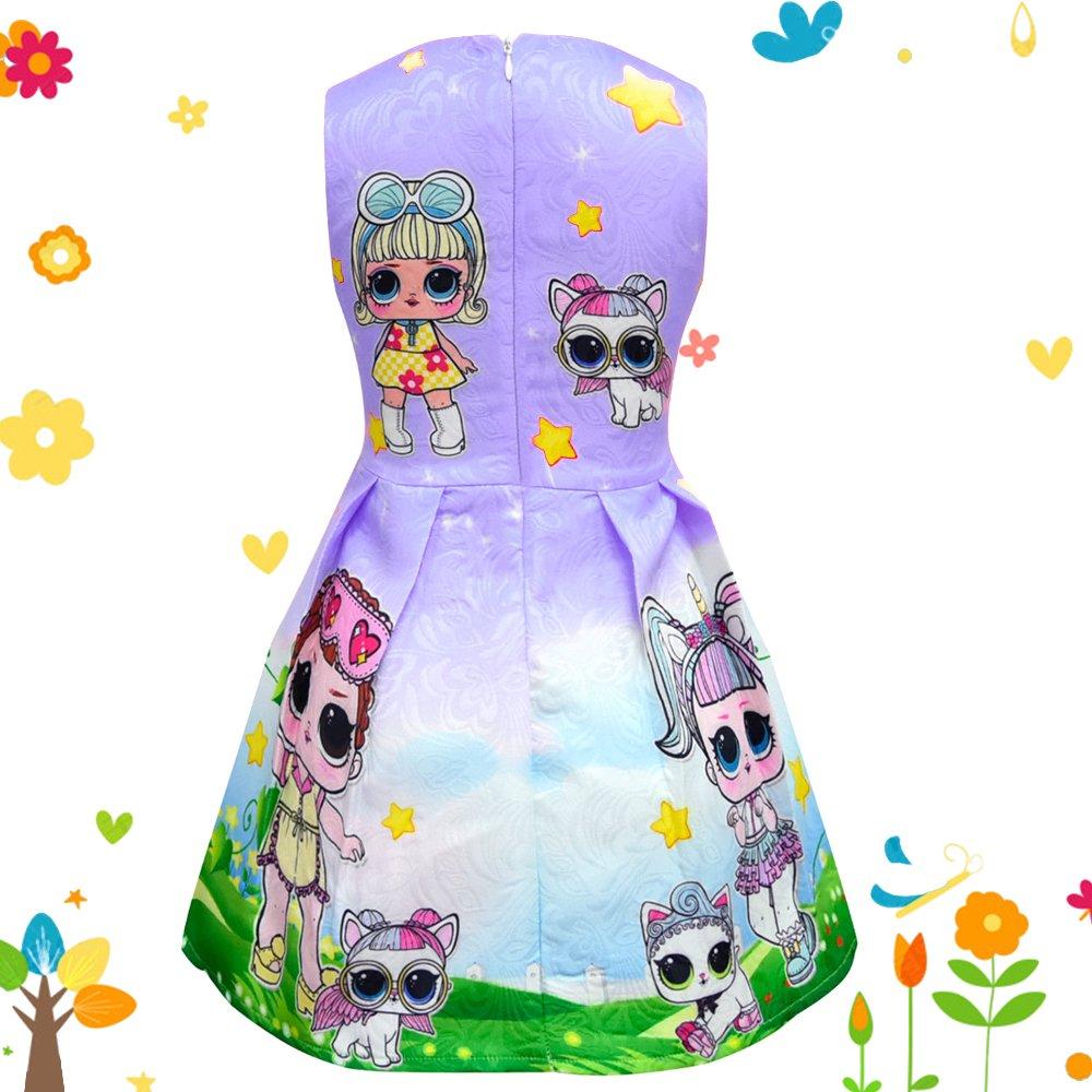 Mukola LOL Surprise Girl Dress Doll Printed Sleeveless Skater Dresses for Toddler Girls