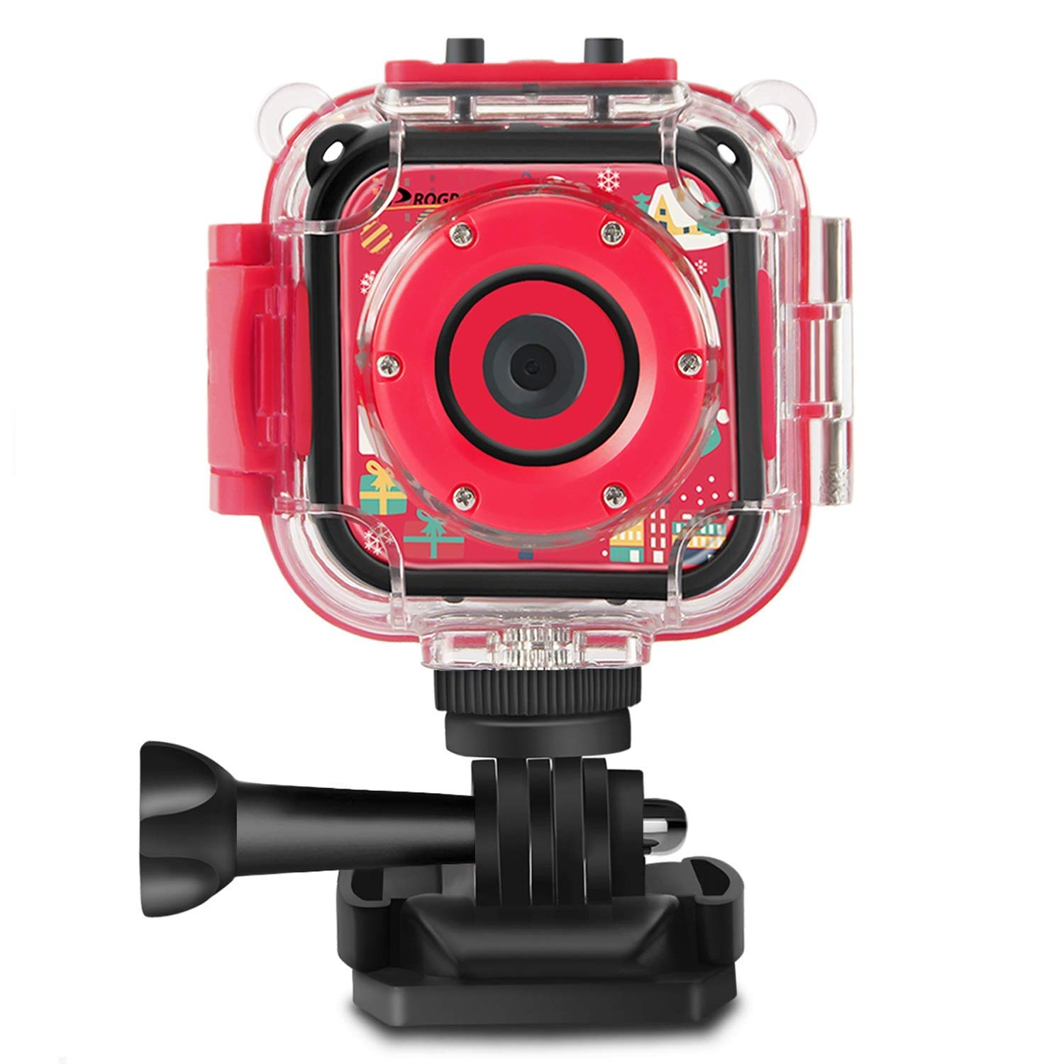 PROGRACE Kids Camera Underwater Waterproof Camera for Kids Camcorder for Boys Girls 4X Zoom-Red by PROGRACE