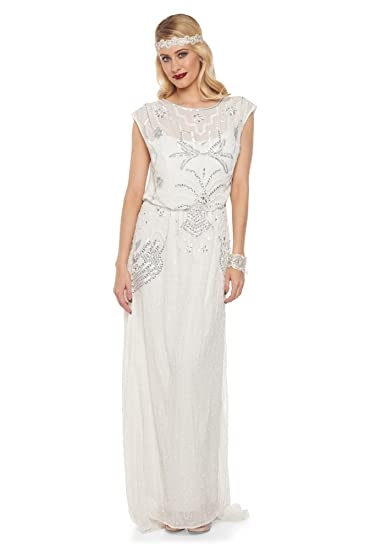 1920s Wedding Dresses- Art Deco Wedding Dress, Gatsby Wedding Dress Isla Vintage Inspired Wedding Gown in Off White $196.84 AT vintagedancer.com