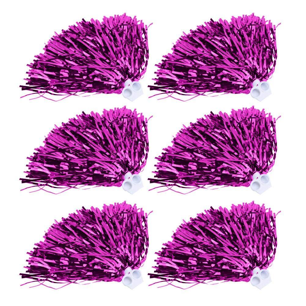 Tbest Pompones de Animadora,Cheerleader Pom Poms 6 / 12pcs Cheerleading Poms Metallic Foil Pom Poms Escuadra Cheer para Fiestas, Celebraciones de Festivales y Bailar,7 Colores