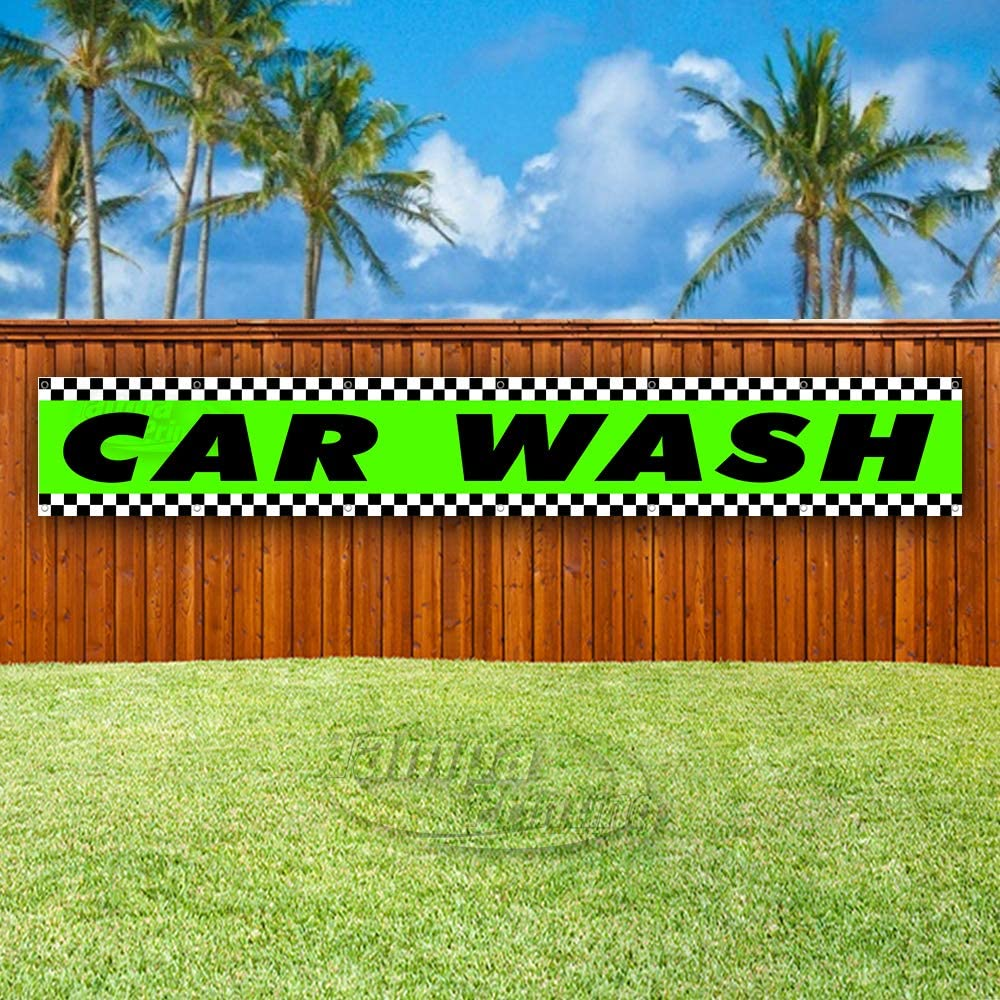 Many Sizes Available Advertising Flag, CAR WASH Extra Large 13 oz Heavy Duty Vinyl Banner Sign with Metal Grommets Store New
