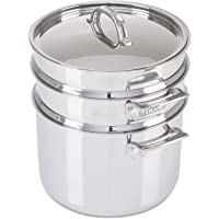 Viking Culinary 4013-6008 3-Ply Stainless Steel Pasta Pot with Steamer, 8 Quart Silver