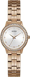 Guess Womens Rose Gold Quartz Watch, Analog Display and Stainless Steel Strap W1209L3
