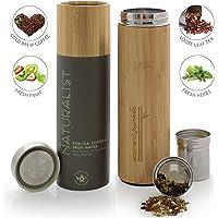 Gobelet de voyage toutes boissons de la marque Teabloom - Grande capacité 0,5 L - Tasse Thermos isolée - Bambou écologique - Infuseur à thé de voyage - The Naturalist