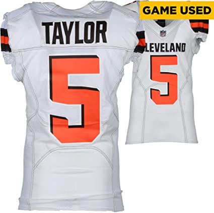 Tyrod Taylor Cleveland Browns Game Used 5 White Jersey Vs