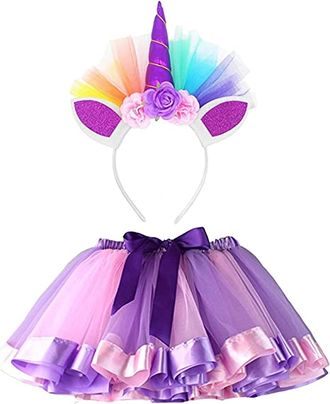 Waymine Kids Baby Girl Rainbow Tutu Skirt Dance Ballet Costume+Headband Set 2-11T