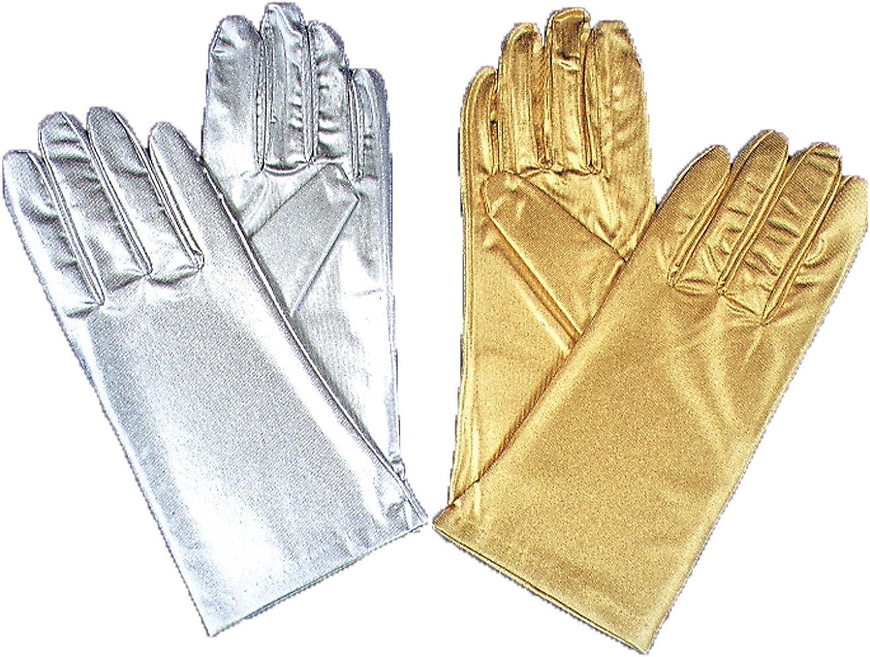 Gloves Reg Metallic Silver  Costume Accessories
