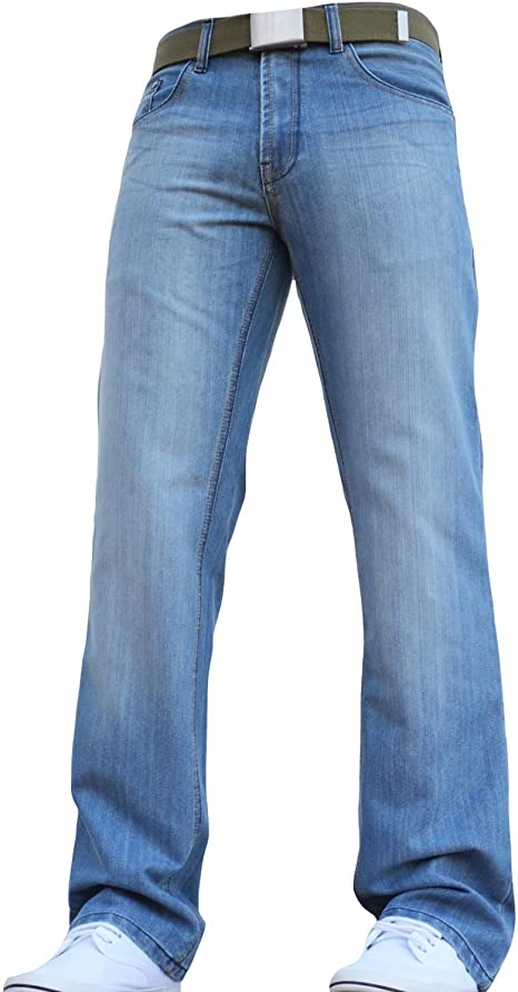 New Mens ENZO Straight Leg Classic Fit Jeans In Dark Blue Denim Colour FREE BELT