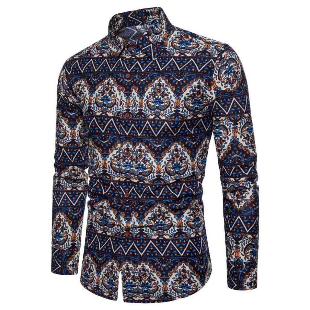 Men Pattern Shirt Flax Plus Size Unique Print Button Down Dress Shirt Zulmaliu(M-5XL) (Navy, L)