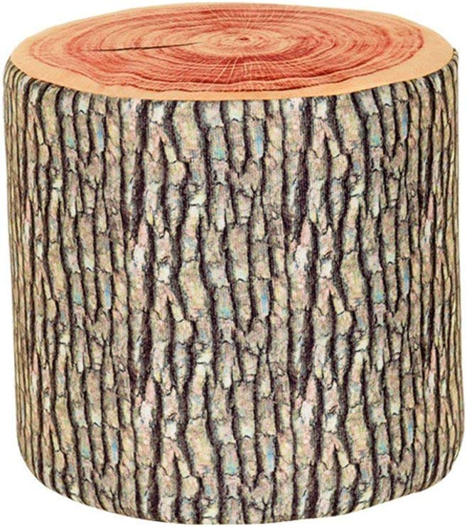 Wooden Stump Shaped Ottoman,Natural Woods Upholstered Footstool Footrest Pouffe Creative Log Soft Chair Children Stool with Removable Flannelette Cover,282828cm