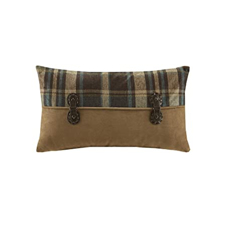 Woolrich Hadley Plaid Pieced Shams Accent Throw Pillow, Lodge Cabin Pieced Oblong Fashion Decorative Pillow, 12X20, Multi