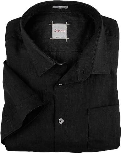 Signum Camisa de Lino Manga Corta Negra XXL, 2xl-8xl:3XL: Amazon.es: Ropa y accesorios