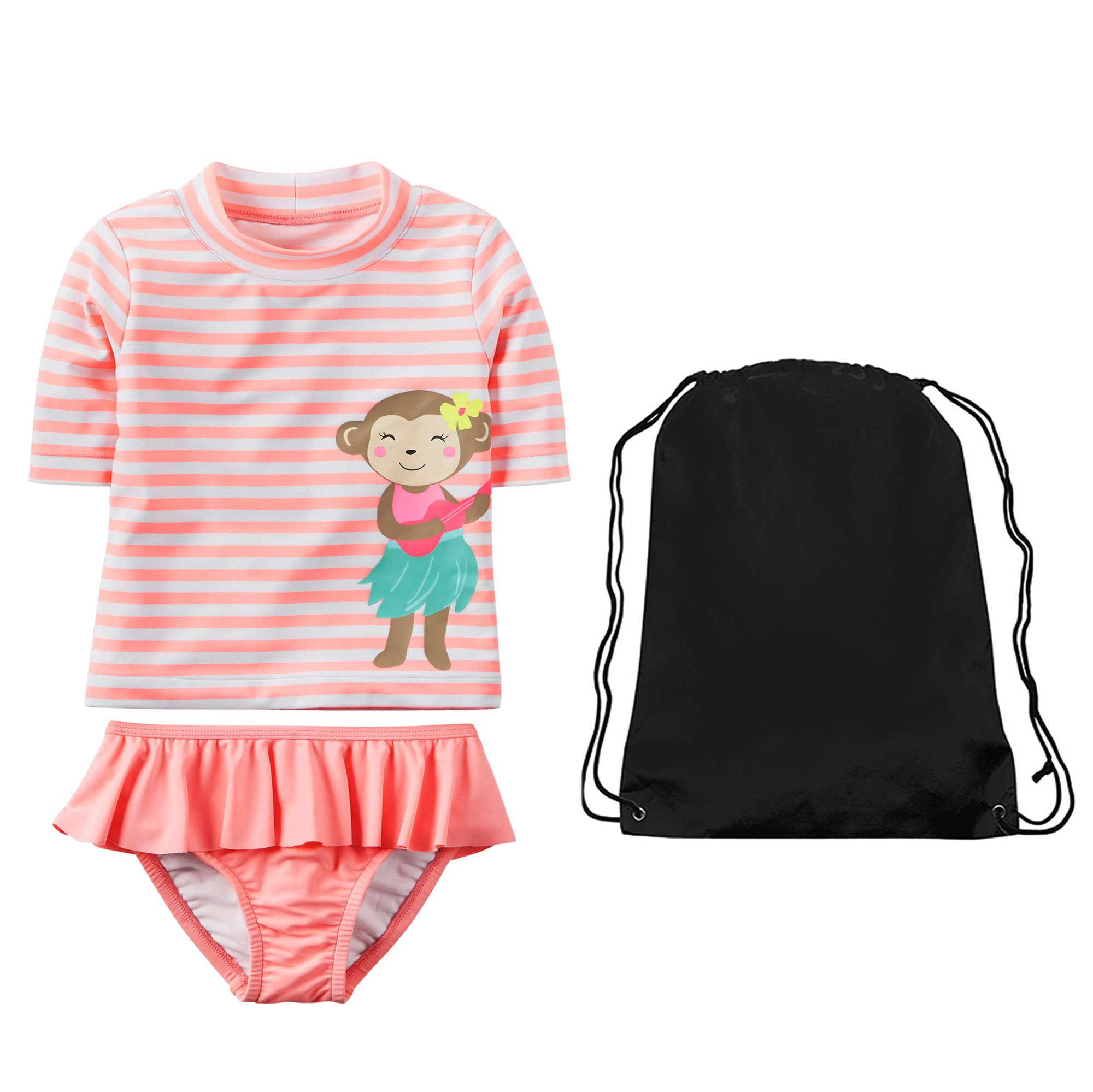 Carter's Girls Monkey Striped Rashguard Shirt Ruffle Skirt Bottom and Bag 6X by Carter's