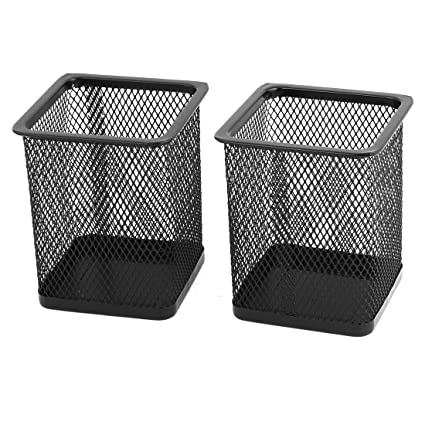 Metal Square Mesh Design Home Office Pen Holder Case, 2 Pcs, Black