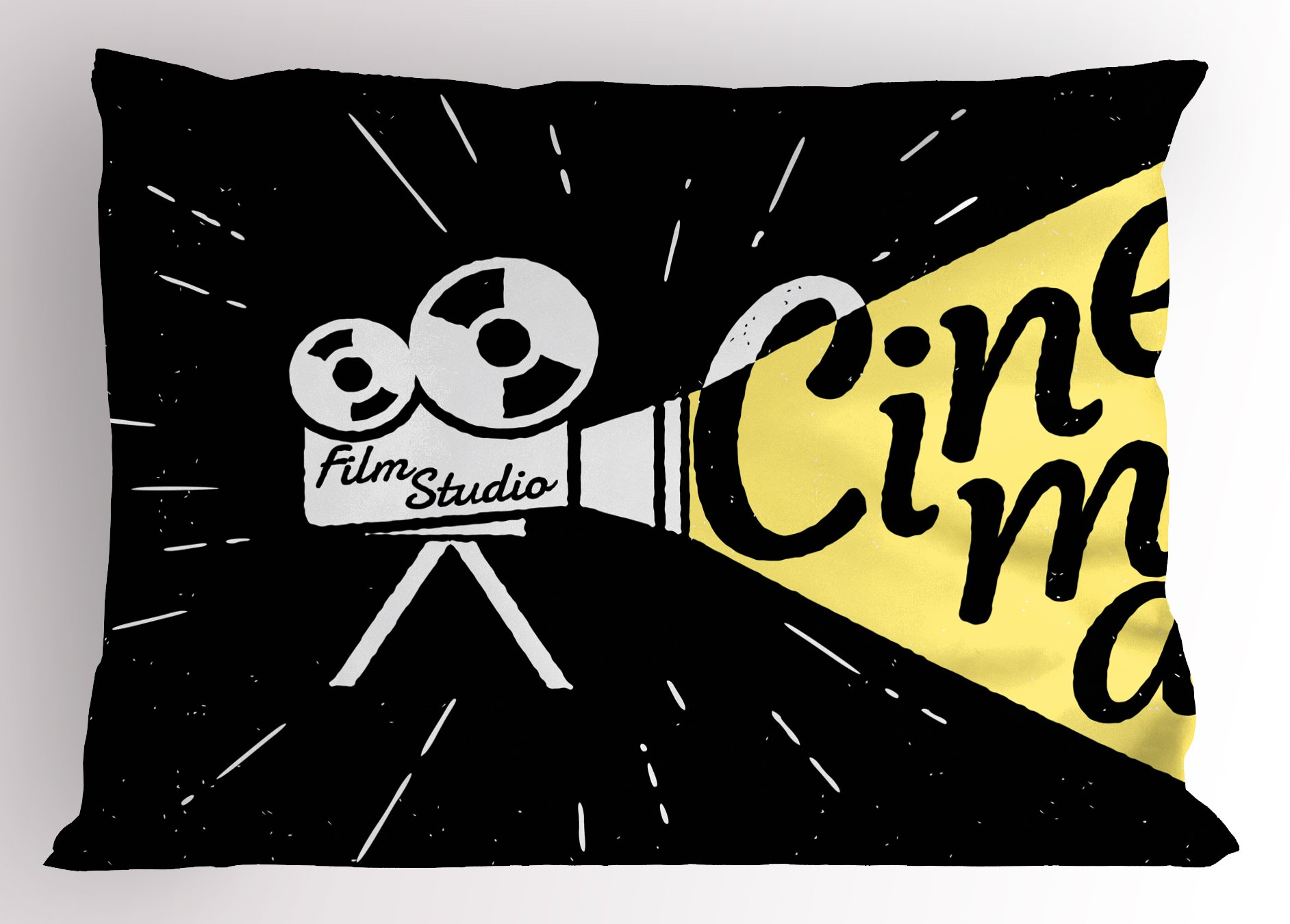 Ambesonne Movie Theater Pillow Sham, Movie Projector Sketch with Grunge Cinema Lettering on Black Backdrop, Decorative Standard King Size Printed Pillowcase, 36 X 20 inches, Yellow Black White
