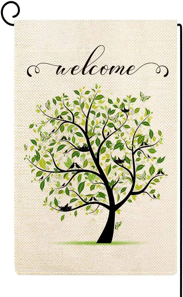 ORTIGIA Small Welcome Birds Tree Garden Flag Vertical Double Sided Home Decorative,Rustic Farmhouse Seasonal Yard House Burlap Flag for Spring Summer Outdoor Indoor Decoration 12.5 x 18 Inch