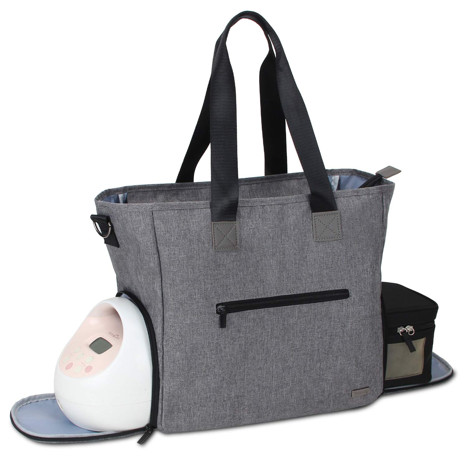 Teamoy Breast Pump Bag, Pumping Bag Tote with Pocket for Breast Pump, Cooler Bag, Laptop(Up to 14'') and More, Perfect for Working Moms, Dark Gray (Bag Only) by Teamoy