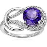 10k White Gold Gemstone and Diamond Accent Love Knot Ring