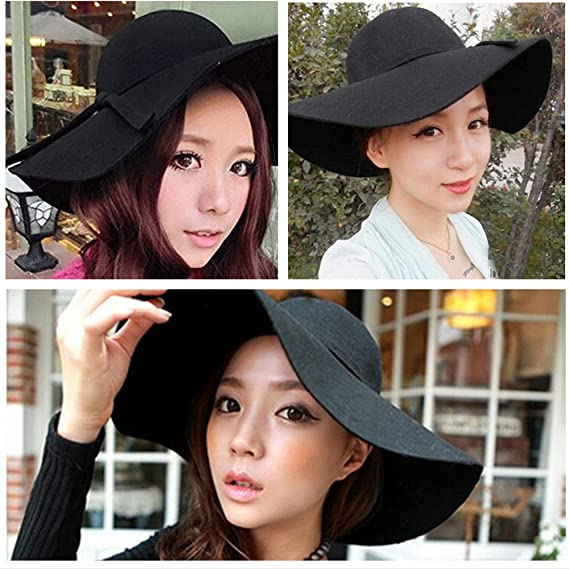 AStorePlus Classic Vintage Women Wool Wide Brim Hat Elegant Ladies Floppy  Beach Sun Cap 90d308f51082