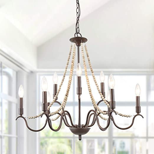 """LALUZ White French Country Chandeliers for Living Room, 9-Light Wood Beads  Kitchen Island Lighting for Dining Room, 28"""" L x 25.5"""" H (9-Light)"""