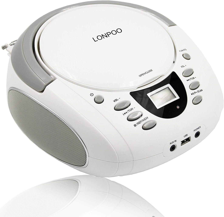 LONPOO Radio CD / MP3 Portátil Reproductor CD con Bluetooth/2 W/FM/USB/AUX-IN/Salida de Auriculares/Estéreo Altavoz (Blanco)