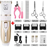 Bojafa Dog Grooming Clippers Low Noise Cordless Pet Grooming Clippers Tools Horse Cat Dog Hair Clippers Shaver Kit