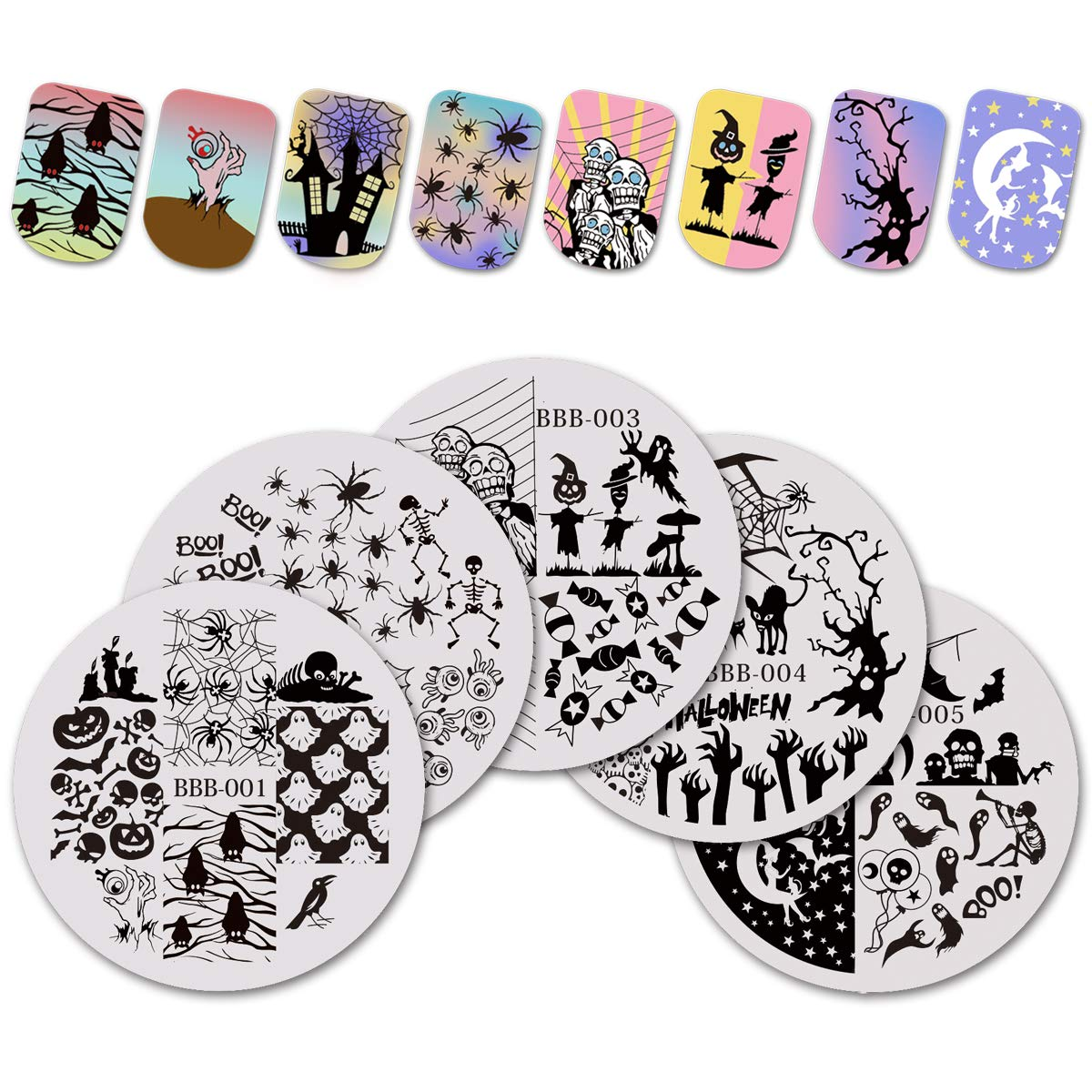 BEAUTYBIGBANG 5 PCS Halloween Nail Art Stamping Plates Set Image Template Stencils Skull Ghost Spider Pumpkin Spider Web Manicure Nail Design (Round)