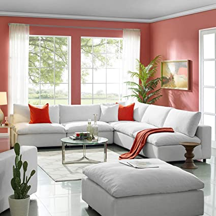 Modway EEI-3360-WHI Commix Down Down Filled Overstuffed 5 Piece Sectional  Sofa Set, Corner Chair/Four Armless Chairs, White
