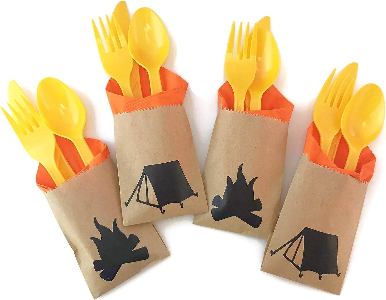 Camping Party Cutlery - 24 Set Lumberjack Backyard Campfire Campout Birthday