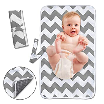 Waterproof Changing Station for Newborn Babies Infants Toddlers Blue//Gray play-go Quick Wipes Portable Changing Pad Foldable Diaper Mat
